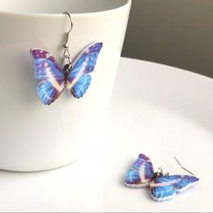 NEW Acrylic Cypris Morpho Butterfly Earrings